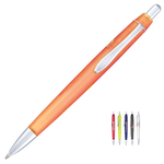 Polymer Click Action Ballpoint Pen w/ Matte Silver Accents