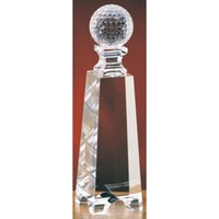 Medium Crystal Golf Ball on Tower Award
