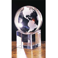 Small Crystal Globe Award w/ Beveled Base