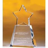 Small Crystal Golden Star Award w/ Clear Base