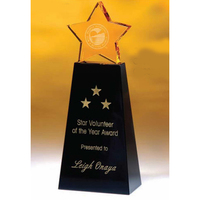 Medium Golden Star Crystal Award w/ Black Base