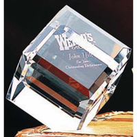 Large Crystal Beveled Cube Award