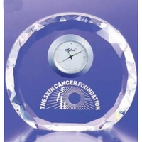 Crystal Faceted Round Clock