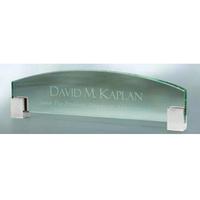 Jade Glass Name Plate w/ Chrome Corners