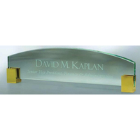 Jade Glass Name Plate w/ Gold Corners
