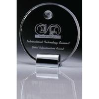 Crystal Disc Award w/ Metal Base & Globe