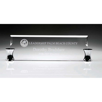 "Crystal name plate and stand 13 1/2""W x 4""H x 1 1/2""D"