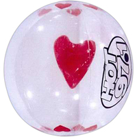 Clear with red heart insert beach ball