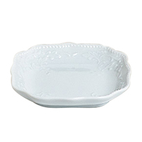 Bonbon square mint / candy dish with scrolled edge
