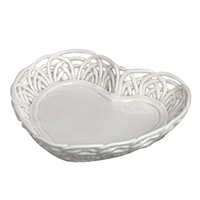 Bonbon heart shape candy dish with spaghettiware design