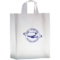Clear Frosted Soft Loop Shopper Bag w/ Insert - Flexo Ink