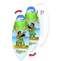 Luggage Tag with Hawaiian Design, Surf Board Shaped