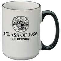 White ceramic 15 oz. mug with matching colored rim/handle