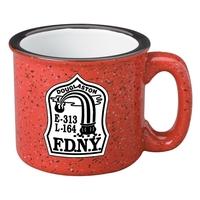 Red 15 oz. western stoneware speckled mug