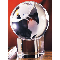 Large Crystal Globe Award w/ Beveled Base
