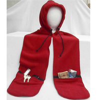 Premium Polar Fleece Hood Scarf With Zip Pockets