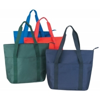 Solid Poly Zipper Tote Bag