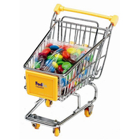 Mini shopping cart with chocolate coated candy