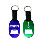 Jumbo size oval bottle opener key chain