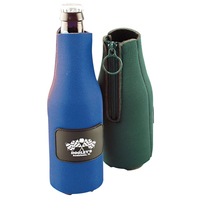 Bottle holder with zipper and panel