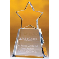 Large Clear Star Crystal Award w/ Clear Base