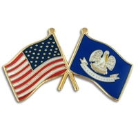 Louisiana & USA Crossed Flag Pin