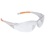 Lightweight wrap around safety glasses with nose piece
