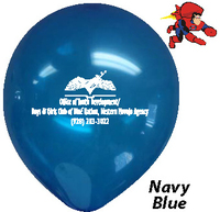 "9"" Navy Blue, Custom Printed, Latex Balloons"