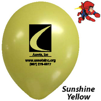 "9"" Sunshine Yellow, Custom Printed, Latex Balloons"