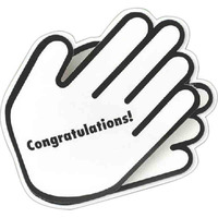 Hands shaped greeting card with applause sound and congratulations message.