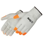 Standard grain cowhide driver glove with Fluorescent orange