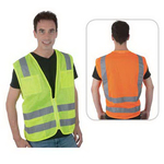 Class 2 compliant dual horizontal stripe mesh safety vest