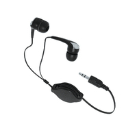 Stereo ear buds with retractable chord