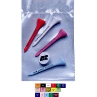 """Golf Tee Poly Bag Combo Pack with 2 1/8"""" Tees & Ball Marker"""
