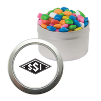Silver Candy Window Tin with Chicle Chewing Gum