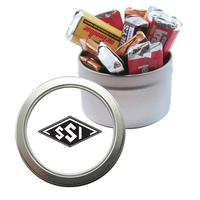 Silver Candy Window Tin with Hershey Miniatures Chocolate