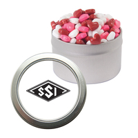Silver Candy Window Tin with Candy Hearts