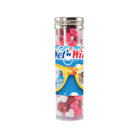 Large Gourmet Plastic Candy Tube with Candy Hearts