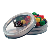 Silver Short Round Candy Tin with Jelly Beans