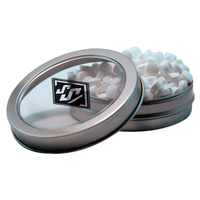 Silver Short Round Mint Tin with Sugar-Free Mints