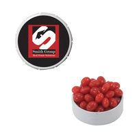 Small White Snap-Top Tin with Cinnamon Red Hots