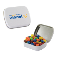 Small White Tin with Chocolate Littles Candy