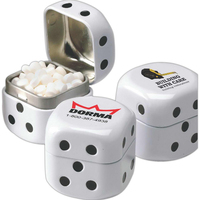 Dice shaped tin filled with assorted jelly beans