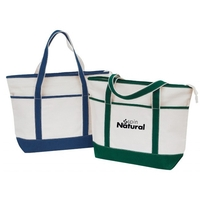 Zipper Canvas Tote Bag with Colored Handles