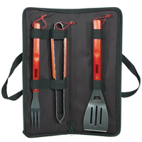 3 Pieces BBQ tool set in textile travel case