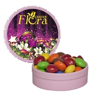 Small Pink Snap-Top Tin with Chocolate Littles
