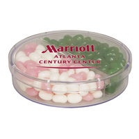 Acrylic Full Moon Container with Corporate Color Jelly Beans