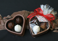 6 oz Solid Chocolate Heart Box with 3 Truffles