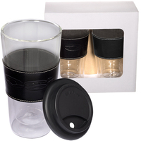Mighty Glass Tumbler with Leather Sleeve Set