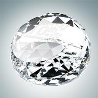 Clear Gem-Cut Crystal Glass Round